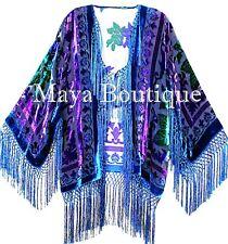 Tye Dye Teal Multi Short Fringe Jacket Kimono Silk Burnout Velvet Maya Matazaro