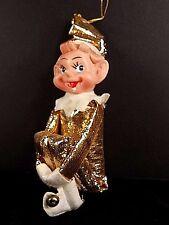 Christmas Elf Knee Hugger Gold Lame Bells 5 Inches Straw Stuffed Elves
