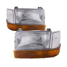 Headlights Pair Fits 92-1996 Ford F150/ 92-97 F250/ 1992-1996 Bronco 6-Piece