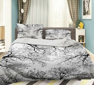 3D Gray Branches NAO9277 Bed Pillowcases Quilt Duvet Cover Set Queen King Fay
