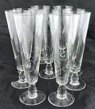 VINTAGE BEER GLASS/ PILSNER SET OF 9,WHEAT ETCHED,GLASSWARE BARWARE STEMWARE
