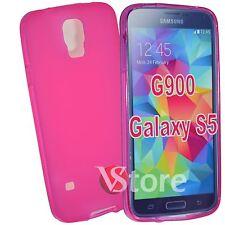Cover Custodia Per Samsung Galaxy S5 G900F Viola Opaco Silicone + Pellicola