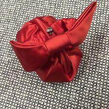 $795 Tiffany & Co bright red satin puffy evening bracelet clutch handbag purse
