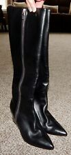 Alexander Wang Lea Tall Black Leather Wedge Boots NEW Size 37