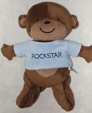 "Carters Plush Brown Monkey Rock Star Soft Stuffed Baby Toy Blue Shirt 15"""