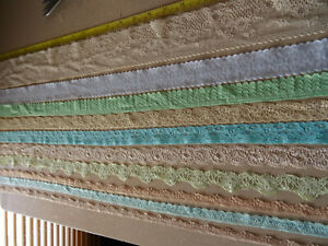 Job Lot Off-Cuts STRETCH Lace 10 x 1m lengths Lace Bundle Light Colours 2