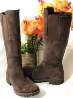 TIMBERLAND Women's Brown Suede Leather Side Zip Knee High Riding Boots Sz 7.5M