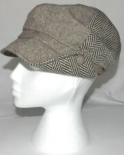 Ladies Flat Cap Wool Mix Hat Ultra Trendy One Size Brown Mix 6 Panel  A003.29