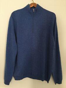 John W. Nordstrom 1/4 zip mock neck cashmere sweater in blue size L
