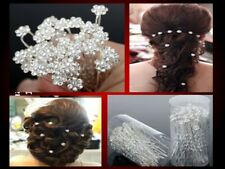 10 pieces Pearl/White Diamante Crystal Hair Pins Clips Prom Wedding Bridal
