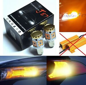 Hyper Flash Free LED Light 2057 Amber Two Bulbs Front Turn Signal Plug Play Fit