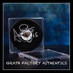 GFA Minnesota Wild ANDREW BRUNETTE Signed NHL Logo Puck AD1 COA