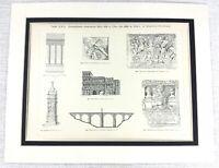 1897 Antico Stampa Antico Romana Architettura Greco Archeologia Sculture Torre