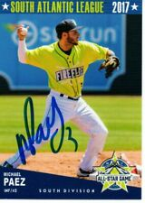 Michael Paez 2017 Columbia Fireflies Sal All Star Game Signed Card