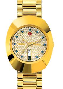 Vintage Rado Diastar Automatic 36 MM Gold Plated Blue Stone Men's Wrist Watch