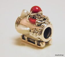 NWT AUTHENTIC PANDORA SILVER CHARM SANTA IN SPACE CHRISTMAS #797511ENMX RETIRED