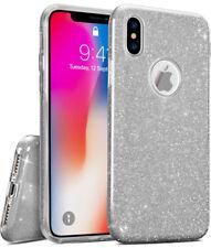 COVER Custodia Glitter Morbida Silicone GEL per Apple iPhone X Argento