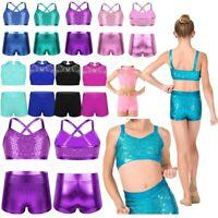 Kids Girls Dance Sports Leotard Tankini Ballet Gym Outfit Crop Top+Bottoms 2PCS