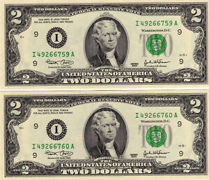 USA:(2003) Rare Two Dollar Banknote Consecutive pair . New condition