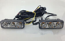 2x 3 LED High Power Car White DRL Daytime Running Light Fog Lamp Waterproof 12V