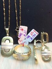 SOLID 14K Italy Gold Jewelry Set  - necklace, earrings, ring - 21.5g.
