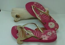 havaiana flip flops 35/36 5/6 Floral printed slim organic pink rubber