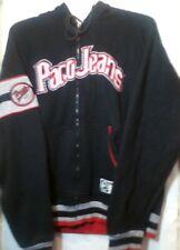 Paco Jeans Hooded Sweatshirt Jacket Zip Front Hoodie Size Large Black