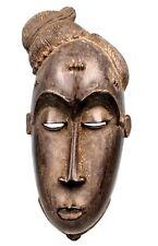 Art Africain Tribal - Masque Facal Baoulé - Coiffe Asymétrique - 28 Cms