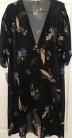 Lularoe Shirley Medium M Cover-up Sheer Black Background W/ Floral, Feathers NWT