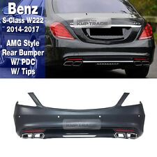 S63 AMG Rear Bumper with PDC Muffler Tips For Mercedes Benz 2014-17 S Class W222