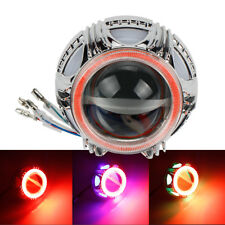 Motorcycle Headlight LED Projector Lens Angel Eye Halo Ring Devil Spot Light
