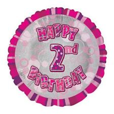 """Happy 2nd Birthday Girl Pink Prismatic Unique Foil Helium Balloon 18"""" Quality"""