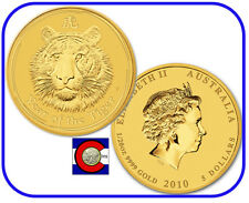 2010 Lunar Tiger 1/20 oz $5 Gold Coin, Series II, Perth Mint in Australia