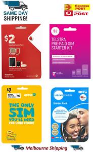 Vodafone Optus Telstra  Amaysim Lebara Lycamobile Boost $2  $10  $30 Prepaid Sim