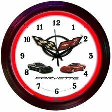 "Chevrolet Corvette C5 Logo Red Neon Hanging Wall Clock 15"" Diameter 8CORVX"