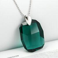 Vert Émeraude Collier en Argent 925 Gros Cristal avec Swarovski Elements