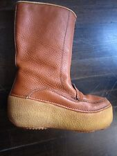 ORTLES Tan Leather Fleece Lined Winter Boots Calf Height Rubber Platform 8/8.5