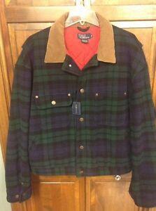 Polo Ralph Lauren Men XL Dungarees Wool Jacket Green Navy Tartan Plaid USA Made