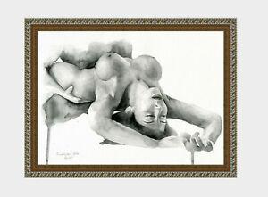 aquarelle watercolor A4 nude female drawing originale nu women woman girl new 2