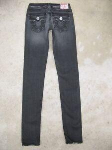 True Religion Julie Jeans Sz 26 Low Skinny w Stretch Black Gray Distressed
