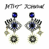Betsey Johnson Crystal Blue Eye Dangle Earrings Fashion Jewelry US Seller