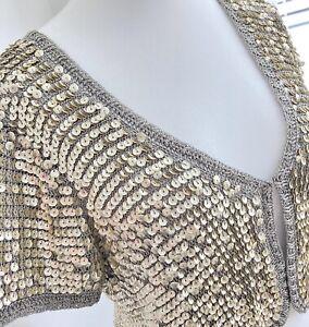 Joanna Hope Grey Shrug Bolero Cardigan UK 16 18 Sequin Crochet Cover Up Occasion