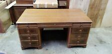 Antique Victorian Partners Pedestal Desk w/ Mahogany Finish