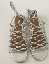 Tahari Women's Shoe Size 9 M Metallic Leather Cage Sihlouette Wedge Heel