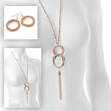 "Stunning 30"" long Rose gold tone interlock chain pendant necklace & earring set"