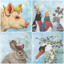4x Carta Tovaglioli-animali FESTIVAL-per feste, decoupage