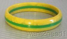 vtg yellow egg yolk marble & apple green laminated STRIPE BAKELITE BANGLE tested