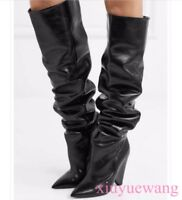 Occident Knee High Boots Womens Heel Pointed Toe Cuffed Stretchy Suede Leather