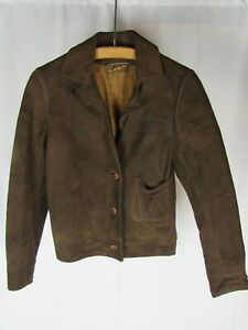 "Vtg 1930s Women's ""Kennedy Leather Coat"" Suede Buckle Back Jacket 30s Cossack"