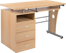Computer Desk with File Cabinet Pedestal, Pull-Out Keyboard in Laminated Maple